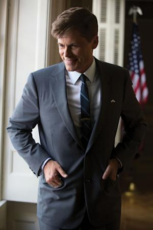 "This image released by National Geographic Channels shows Rob Lowe as President John F. Kennedy in ""Killing Kennedy."" The film, based on Fox News host Bill O'Reilly and Martin Dugard's book by the same name, chronicles the events that culminated with the assassination of the nation's 35th president on Nov. 22, 1963. The film with Rob Lowe portraying the former president was watched by 3.4 million people Sunday night. ??(AP Photo/National Geographic Channels, Kent Eanes)"