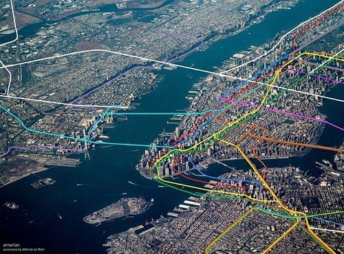Cool Map Thing: See the Subway Map Snake Through New York's Streetscape