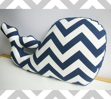 Nautical Navy Chevron Whale Pillow