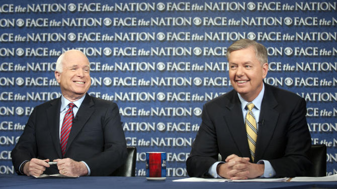 "In this Sunday, March 3, 2013, photograph provided by CBS News Sen. John McCain, R–Ariz., and Sen. Lindsey Graham, R–S.C., right, are interviewed on CBS's ""Face the Nation"" in Washington. Graham and McCain said Sunday that they want answers from the Obama administration about what happened at the U.S. Consulate in Benghazi, Libya, last September that left four Americans dead, and that they are willing to oppose the nomination of a new CIA director, John Brennan, until they get them."" (AP Photo/CBS News, Chris Usher)"