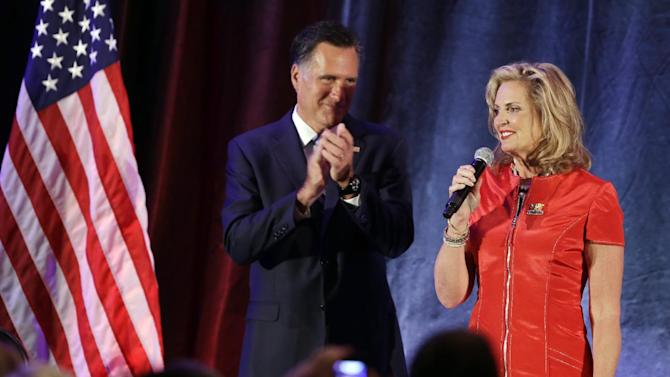 Republican presidential candidate and former Massachusetts Gov. Mitt Romney and Ann Romney speak at a campaign fundraising event in Dallas, Tuesday, Sept. 18, 2012.  (AP Photo/Charles Dharapak)