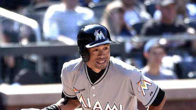 Miami Marlins' Ichiro Suzuki lines out to first base off New York Mets relief pitcher Jerry Blevins in the seventh inning of a baseball game at Citi Field on Sunday, April 19, 2015, in New York. (AP Photo/Kathy Kmonicek)