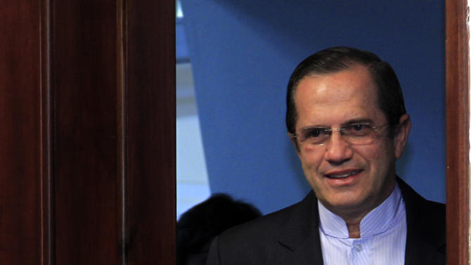 "Ecuador's Foreign Minister Ricardo Patino arrives for a press conference in Quito, Ecuador, Wednesday, Aug. 15, 2012. Patino told that Ecuador received a written threat Wednesday from Britain that ""it could assault our embassy"" if WikiLeaks founder Julian Assange was not handed over. (AP Photo/Dolores Ochoa)"