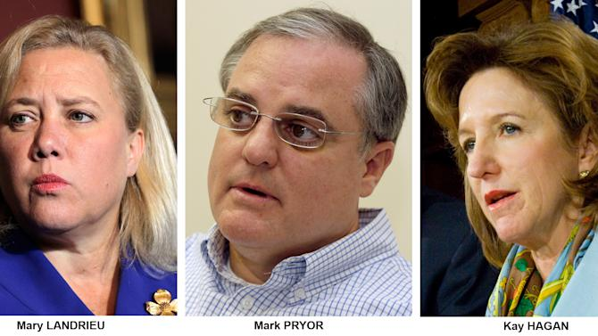 FILE - These file photos show Democrats Senators, from left, Mary Landrieu, D-La., Mark Pryor, D-Ark., and Kay Hagan, D-N.C. The South, where President Barack Obama and his party have struggled for years, will be Democrats' toughest battleground in the 2014 fight for control of the Senate. A trio of incumbents must face the consequences of having voted for Obama's signature health care law, but first Republicans must settle primaries in several states, including a challenge to Minority Leader Mitch McConnell. (AP Photo/File)