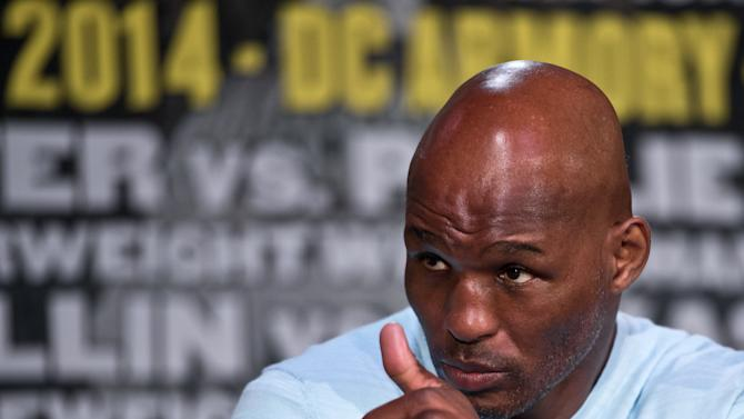 US boxer Bernard Hopkins gives the thumbs up during a press conference in Washington on April 17, 2014