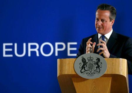 File photo of British Prime Minister David Cameron speaking during a news conference after the European Union leaders summit in Brussels