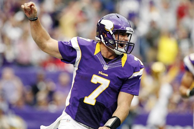 Minnesota Vikings quarterback Christian Ponder (7) celebrates his touchdown run in the first half of an NFL football game against the San Francisco 49ers, Sunday, Sept. 23, 2012, in Minneapolis. (AP P