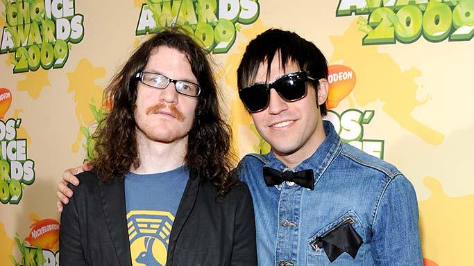 "Andy Hurley and Pete Wentz of Fall Out Boy arrive at ""Nickelodeon's 2009 Kids' Choice Awards"" at UCLA's Pauley Pavilion on March 28, 2009 in Westwood, California."