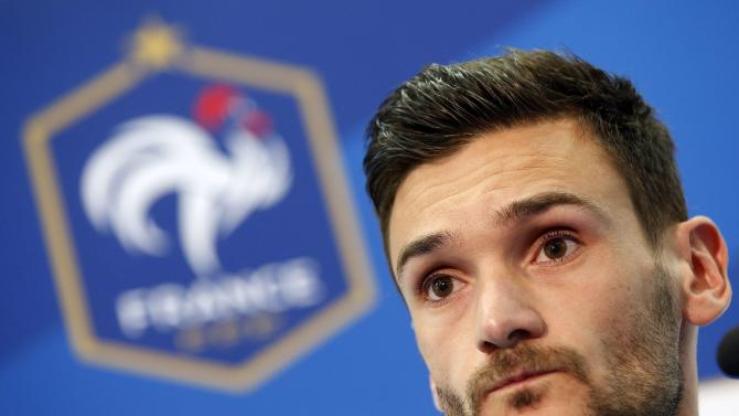 France's national soccer team captain Hugo Lloris attends a news conference at Allianz Riviera stadium in Nice