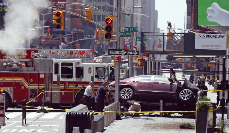 The car that Richard Rojas drove into pedestrians in New York. (AP Photo/Seth Wenig)