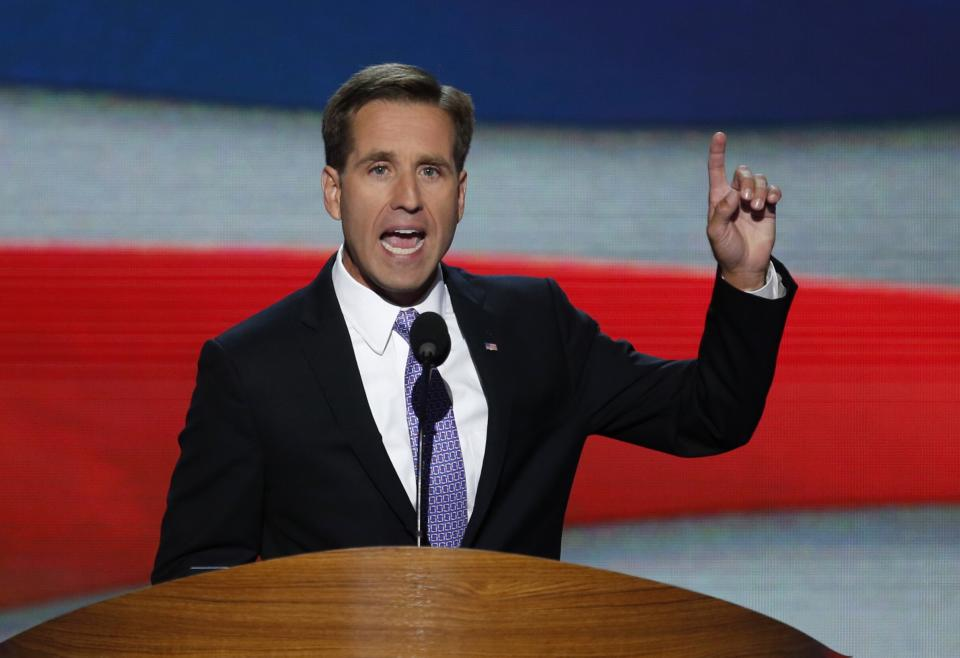 File photo of Delaware Attorney General Beau Biden addressing final session of Democratic National Convention in Charlotte