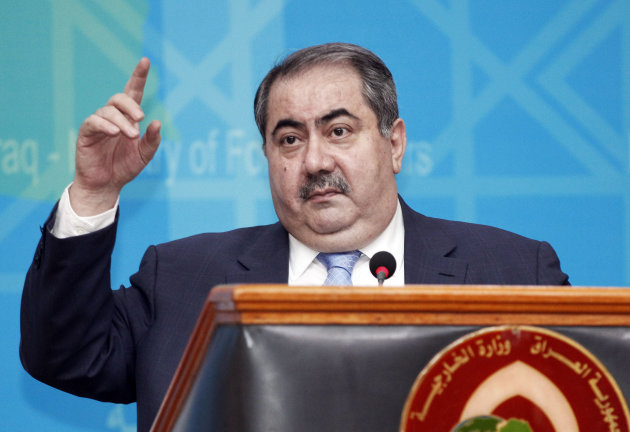 "Iraqi Foreign Affairs Minister Hoshyar Zebari speaks at a press conference in Baghdad, Iraq, Thursday, July 5, 2012. Zebari says the government has ""solid information and intelligence"" about al-Qaida militants infiltrating Syria from Iraq to carry out attacks. (AP Photo/Karim Kadim)"