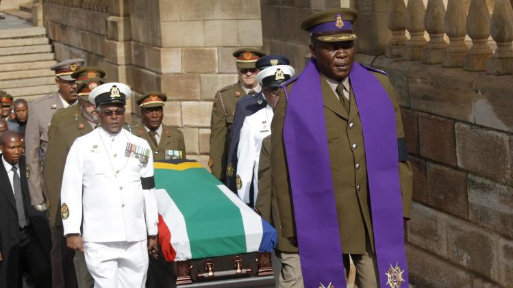 The body of the late Nelson Mandela arrives at the Union Buildings in Pretoria