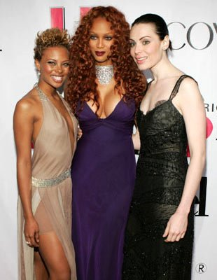 "America's Next Top Model Eva Pigford, Tyra Banks and last year's winner Yoanna House ""America's Next Top Model"" Season Three Finale Party - 12/15/2004"