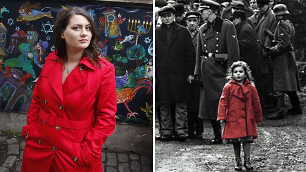 Oliwia Dabrowska, foreground, right, in 1993's 'Schindler's List' and Dabrowska now