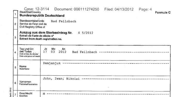 This document provided by the U.S. District Court in Cleveland is a copy of the death certificate of John Demjanjuk issued in Bad Feilnbach, Germany on March 21, 2012. The defense team for John Demjanjuk, who died March 17 in Germany at age 91, asked the 6th U.S. Circuit Court of Appeals in Cincinnati in a filing late Thursday, April 12, 2012 to restore his citizenship or order a hearing on the case. (AP Photo/U.S. District Court)