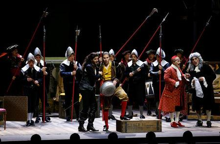 Performers take part in a dress rehearsal for the Barber of Seville ahead of the opening of the first Dubai Opera house