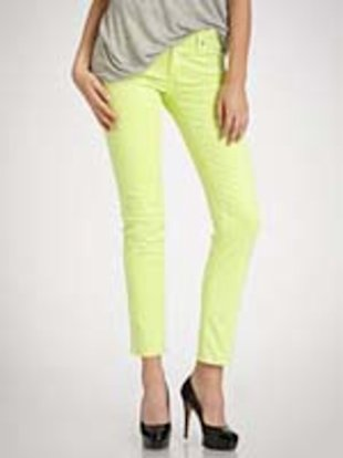 Saks Fifth Avenue is selling these super skinny jeans by AG Adriano Goldschmied in a fluorescent yellow.