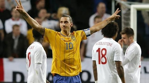 Sweden&#39;s Zlatan Ibrahimovic celebrates after scoring four against England (Reuters)