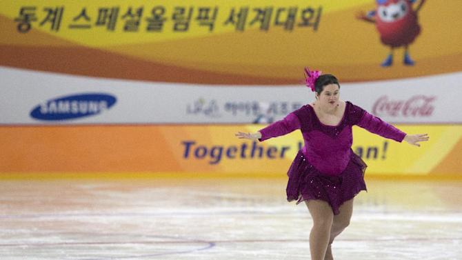IMAGE DISTRIBUTED FOR SPECIAL OLYMPICS - Crystal Greig of Canada performs during the women's figure skating level 1 event of the 2013 PyeongChang Special Olympics World Winter Games in PyeongChang, S. Korea on the fourth day of the competition, Friday, Feb. 01, 2013. (Seonggwang Kim/AP Images for Special Olympics)