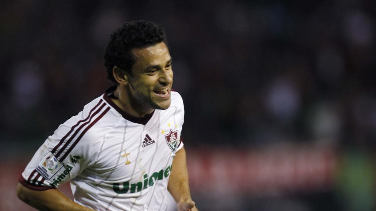 Fred of Brazil's Fluminense celebrates his goal against Venezuela's Caracas FC during their Copa Libertadores soccer match in Caracas
