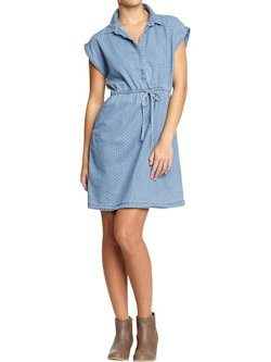 Women's Pin-Dot Chambray Dress