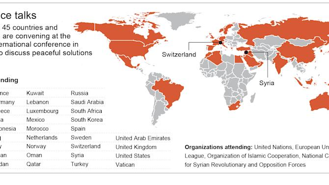 Graphic shows countries and organizations participating in Geneva II conference on Syria peace talks; 4c x 3 inches; 195.7 mm x 76 mm;