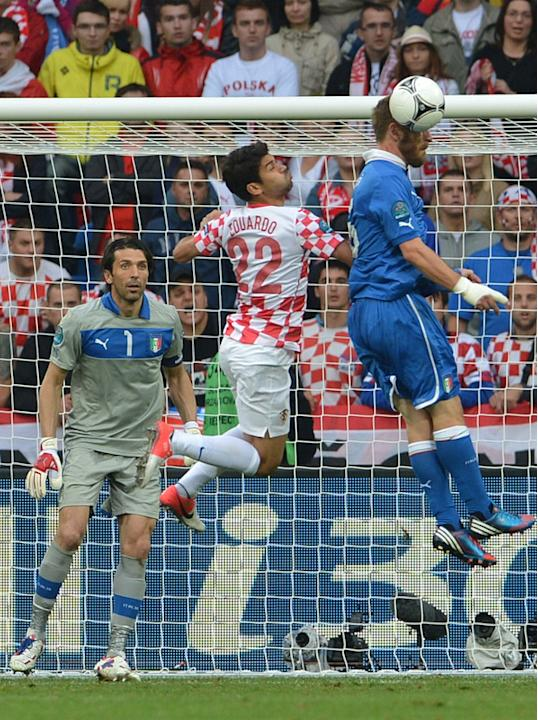 Italian Goalkeeper Gianluigi Buffon (L) Looks At Croatian Forward Eduardo (C0 Vying With Italian Midfielder Daniele De AFP/Getty Images
