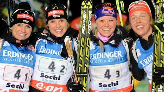 Biathlon - Dahlmeier leads Germany to dramatic Sochi relay victory
