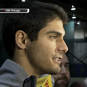 Eastern Illinois QB Jimmy Garoppolo works out for San Francisco 49ers coach Jim Harbaugh