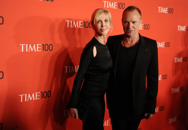 FILE - Musician Sting and his wife Trudie Styler attend the Time 100 Gala, celebrating the 100 most influential people in the world, on in this April 26, 2011 file photo, in New York. Sting moved the location of his &quot;Back to Bass Tour&quot; concert Saturday Oct. 20, 2012 in the Philippines following a petition by environmentalists who said the original venue is owned by a conglomerate that plans to uproot 182 trees for a parking lot and mall expansion in a northern mountain city. Sting and his wife established The Rainforest Foundation to protect tropical rainforests and their people.(AP Photo/Peter Kramer, FILE)