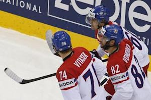 Rolinek of Czech Republic celebrates after scoring against the U.S. in men's ice hockey World Championship quarter-final game in Minsk