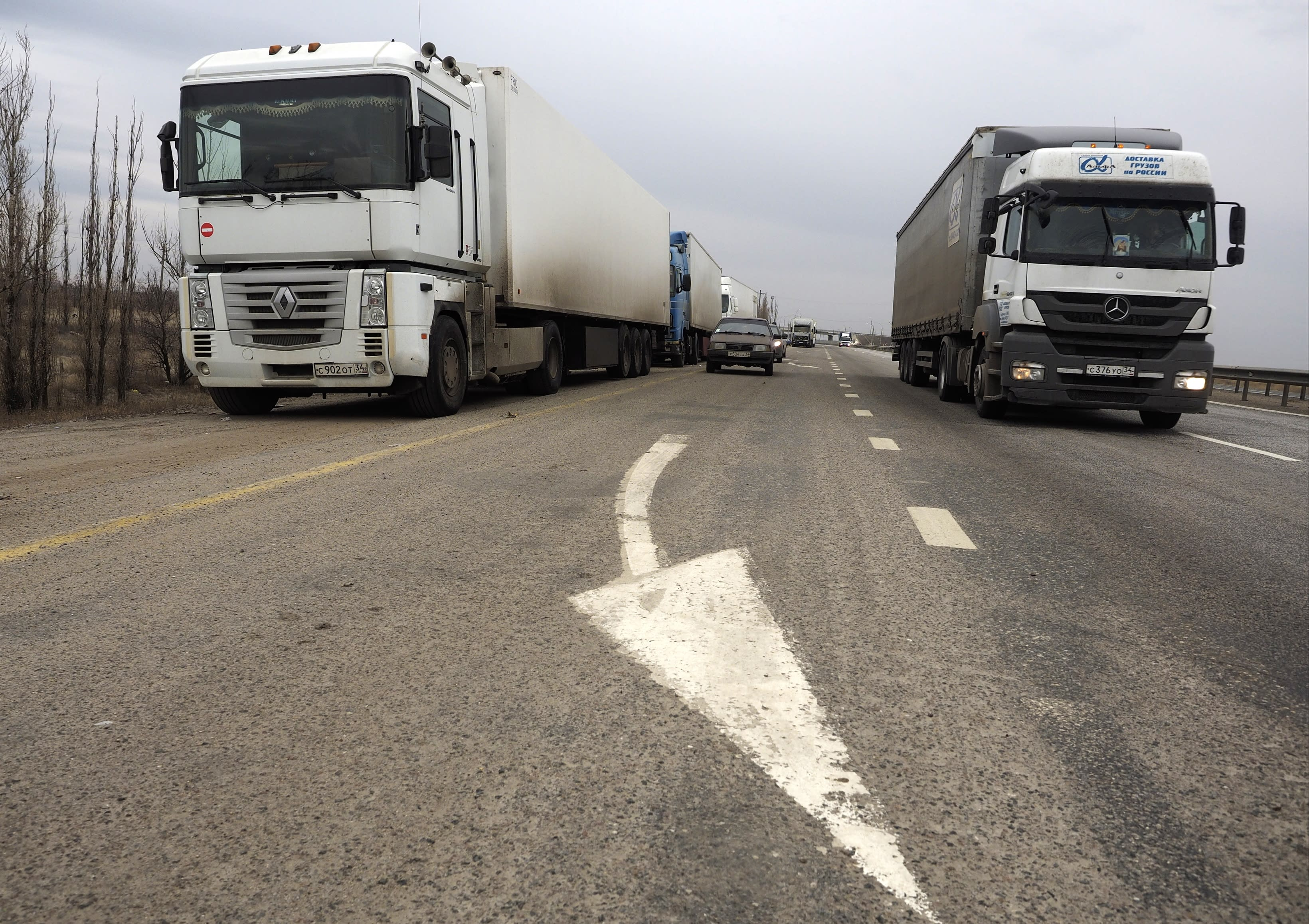 Hundreds of Russian truck drivers head to Moscow for protest