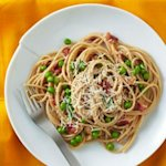 Spaghetti Carbonara with Peas