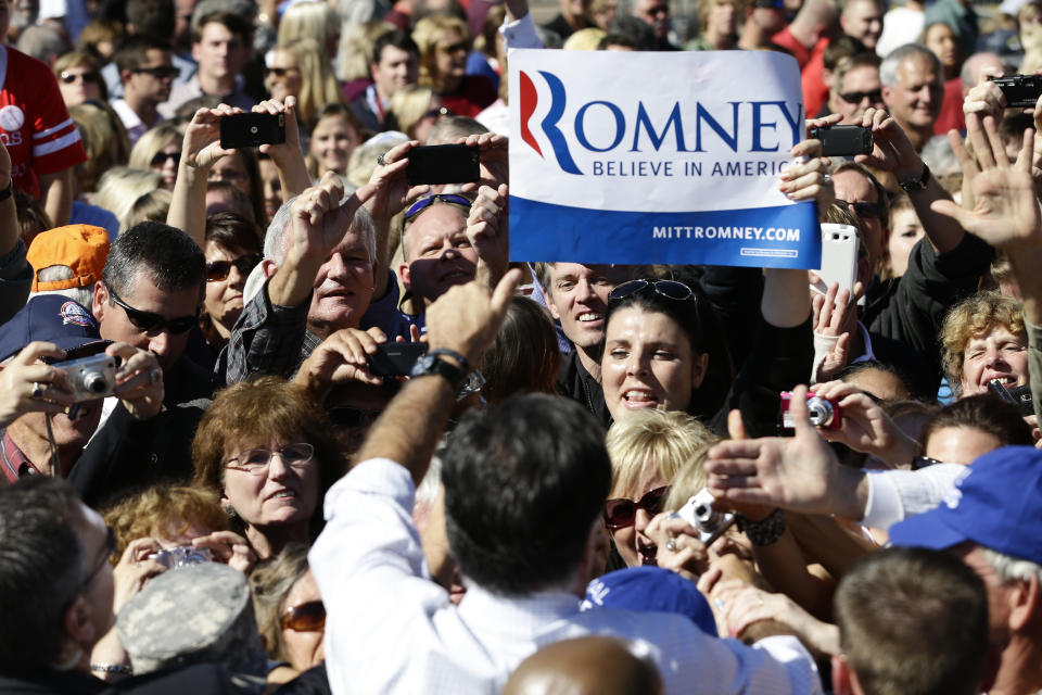 Republican presidential candidate, former Massachusetts Gov. Mitt Romney campaigns at the Mobility Supercenter in Richmond, Va., Friday, Oct. 12, 2012. (AP Photo/Charles Dharapak)