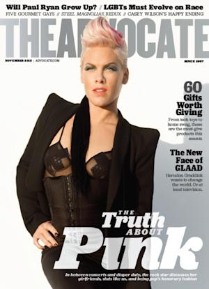 Pink on the November 2012 cover of The Advocate -- The Advocate
