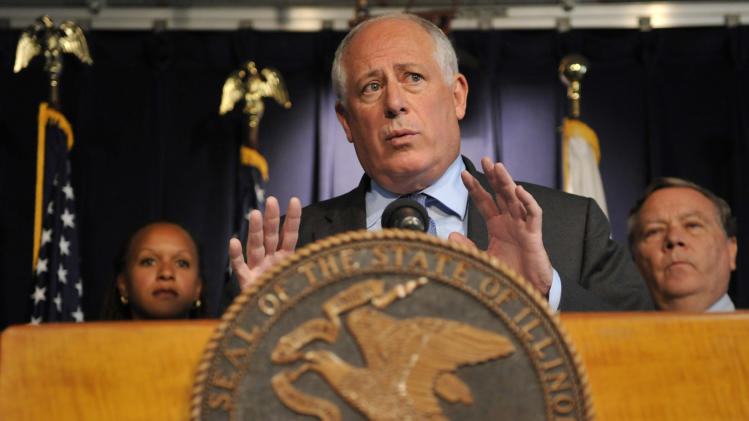 "Illinois Gov. Pat Quinn speaks at a news conference in Chicago, Thursday, Sept. 8, 2011. Gov. Pat Quinn announced Thursday that he'll try to close seven state institutions and lay off more than 1,900 employees in an effort to live within the reduced budget approved by the Illinois Legislature, and he challenged lawmakers not to ""run away"" from the impact of their decisions.  (AP Photo/David Banks)"