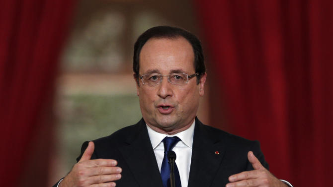 French President Francois Hollande answers questions during a press conference at the Elysee Palace in Paris, Thursday, May 16, 2013. Hollande argued that the 17-nation eurozone should integrate more and favors easing back on debt reduction measures to help the economy grow. (AP Photo/Christophe Ena)