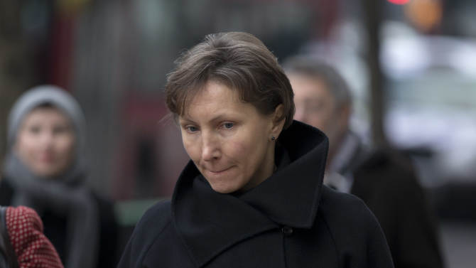 FILE - Marina Litvinenko, the widow of former Russian intelligence officer Alexander Litvinenko, arrives for the first day of a scheduled two-day Pre-Inquest Review at Camden Town Hall in London, in this Thursday, Dec. 13, 2012 file photo.  British media organizations are challenging a government secrecy bid for parts of the inquest into the death of a former Russian intelligence agent poisoned in London. Alexander Litvinenko died in a London hospital in 2006, with the rare radioactive substance polonium-210 being found in his body.   (AP Photo/Matt Dunham, file)