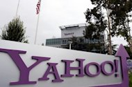 The Yahoo! logo is pictured outside the company's headquarters in California on July 17, 2012. The company's shares bounced in after-hours trading as the struggling Internet pioneer topped Wall Street expectations despite a slip in quarterly profit