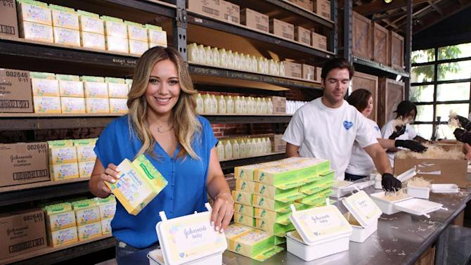 COMMERCIAL IMAGE - In this photograph taken by AP Images for JOHNSON'S® BABY, Hilary Duff joins JOHNSON'S® BABY CARES Campaign to Support Initiative with Children's Humanitarian Organization Save the Children in Los Angeles, Thursday May 10, 2012.  (Casey Rodgers / AP Images for JOHNSON'S® BABY)