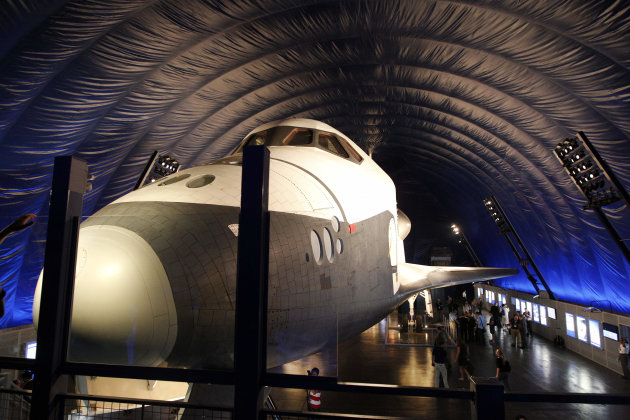 The Space Shuttle Enterprise sits on display at the Sea, Air and Space Museum's Space Shuttle Pavilion Wednesday, July 18, 2012, in New York.  The Pavilion will be open to the public Thursday, July 19