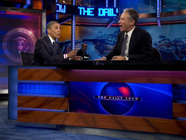 President Barack Obama talks with Jon Stewart during a taping of his appearance on &quot;The Daily Show with John Stewart&quot;, Thursday, Oct. 18, 2012, in New York. (AP Photo/Carolyn Kaster)