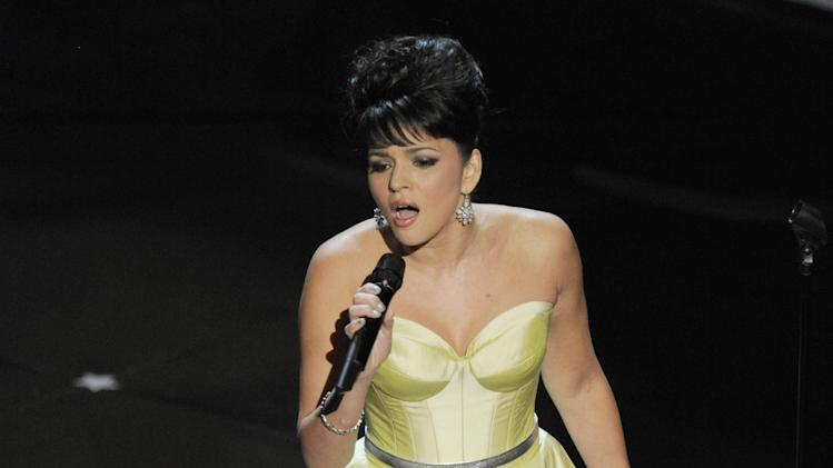 Singer Norah Jones performs during the Oscars at the Dolby Theatre on Sunday, Feb. 24, 2013, in Los Angeles. (Photo by Chris Pizzello/Invision/AP)