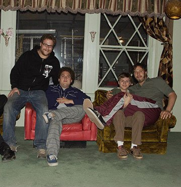 Seth Rogen , Jonah Hill , Michael Cera and Evan Goldberg on the set of Columbia Pictures' Superbad