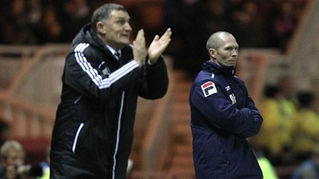 Tony Mowbray, left, was relieved to see his side hang on for victory