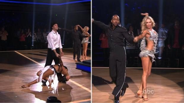 Gavin DeGraw and Karina Smirnoff compete against Jaleel White and Kym Johnson in the Bottom 2 dance-off on 'Dancing with the Stars,' April 17, 2012 -- ABC