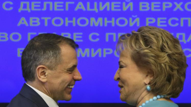 Head of the Russian Federation Council Matviyenko greets head of the delegation and speaker of the Crimean parliament Konstantinov during a meeting at the Federation Council headquarters in central Moscow