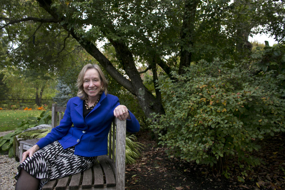 "In this Monday, Oct. 7, 2013 photo author Doris Kearns Goodwin poses for a portrait outside at her home in Concord, Mass. Goodwin's latest book,""The Bully Pulpit: Theodore Roosevelt, William Howard Taft, and the Golden Age of Journalism,"" will be released on Nov. 5. (AP Photo/Steven Senne)"