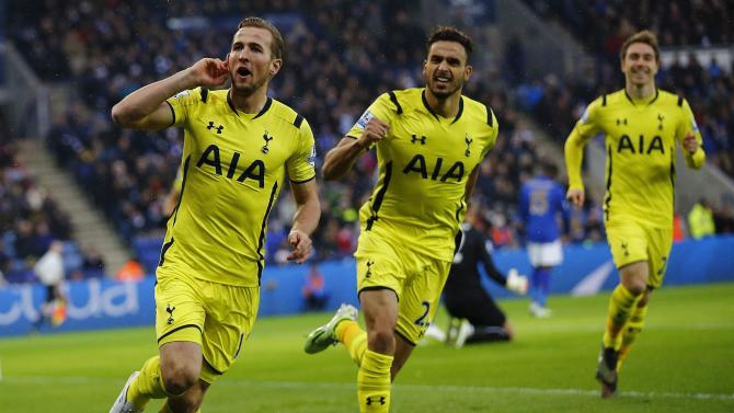 Tottenham Hotspur's Kane celebrates his goal against Leicester City during their English Premier League soccer match in Leicester